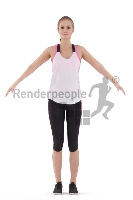 Rigged 3D People model for Maya and 3ds Max – european woman in sports wear