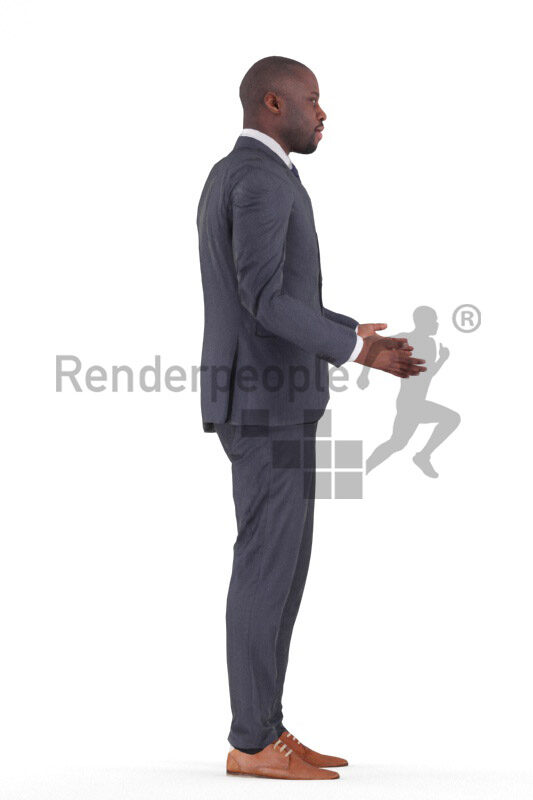 Animated human 3D model by Renderpeople – black man in chic event look, talking, presenting