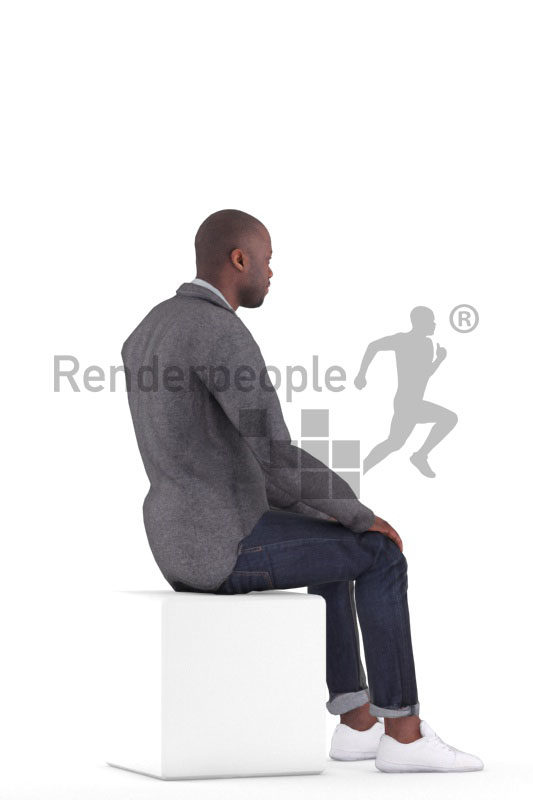 Animated 3D People model for realtime, VR and AR – black man in smart casual look, sitting