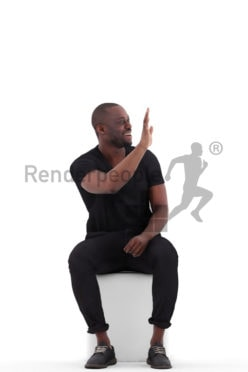 Realistic 3D People model by Renderpeople- black man sitting and saluting