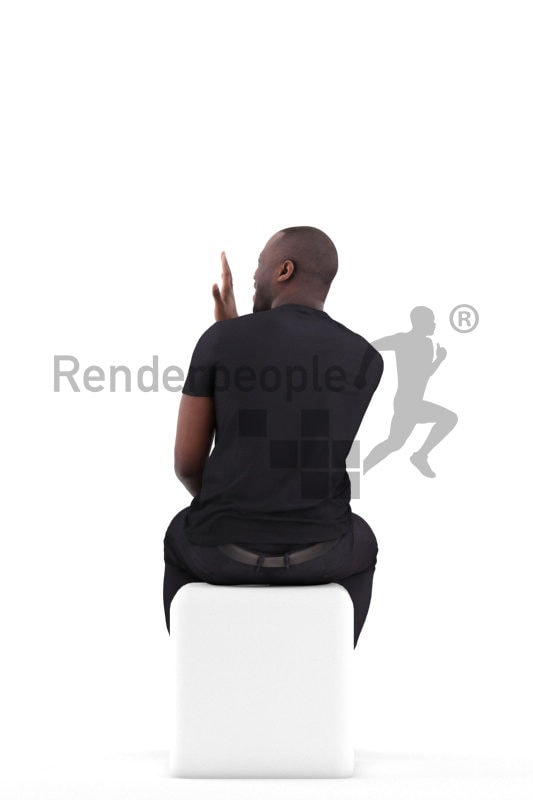 Realistic 3D People model by Renderpeople- black man sitting and saluting