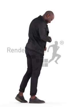 Posed 3D People model for renderings – black man in smart casual look, pulling on his jacket