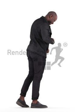 Posed 3D People model for renderings – black man in smart casual look, pulling on his jacket