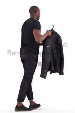 Scanned 3D People model for visualization – black man walking in the mall, holding a jacket