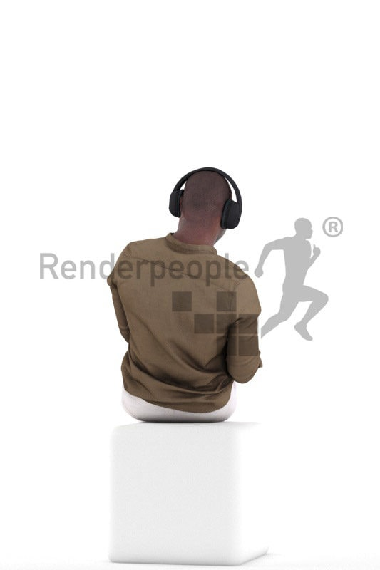 Photorealistic 3D People model by Renderpeople – black male in smart casual outfit, relaxing with mobilephone and headphones