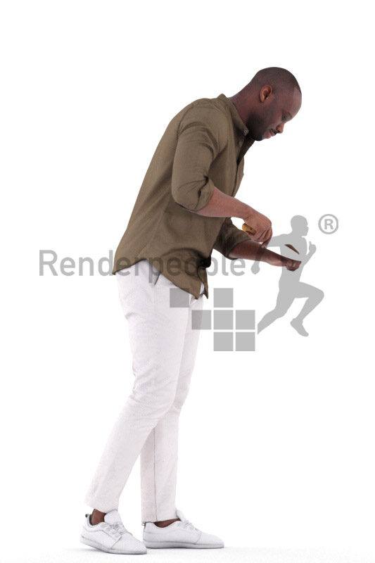 Scanned human 3D model by Renderpeople – black man in smart casual look, standing and cutting something
