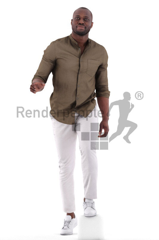 3D People model for 3ds Max and Maya – black man in smart casual look, walking upstairs