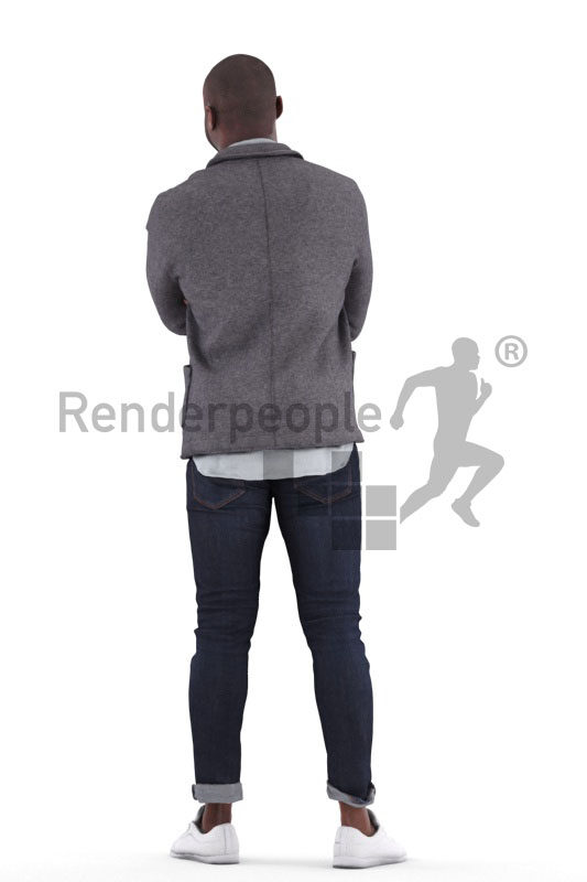 Posed 3D People model for visualization – black man in smart casual look, standing and listening