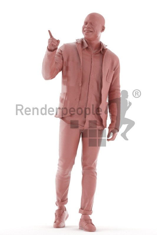 3D People model for 3ds Max and Maya – black man in casual outdoor look, walking and pointing