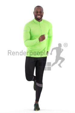 Scanned 3D People model for visualization – black man jogging in sports clothes