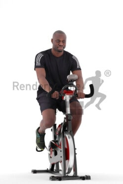 3D People model for 3ds Max and Sketch Up – black man in sportwear, using a ergometer