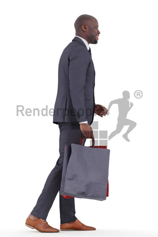Scanned human 3D model by Renderpeople – black man shopping and walking in event suit