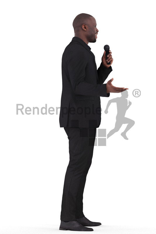 Scanned human 3D model by Renderpeople – black male in dark suit, moderating