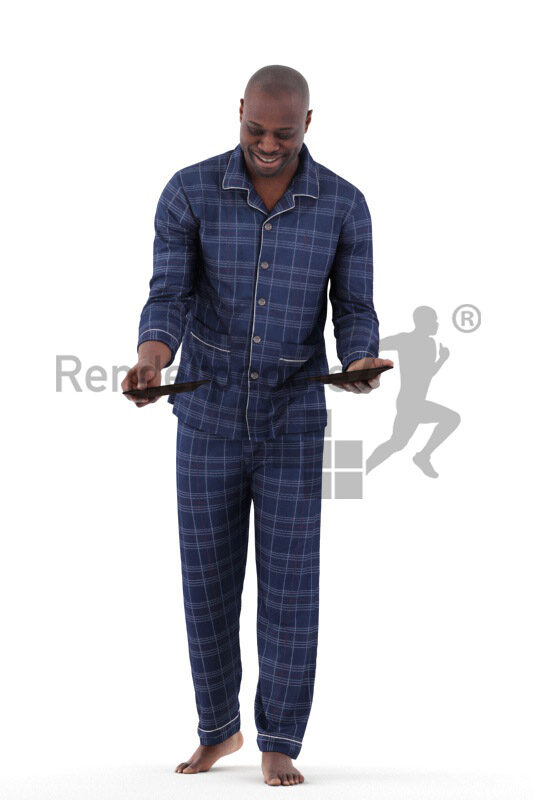 Photorealistic 3D People model by Renderpeople – black man in sleepwear, serving plates and smiling