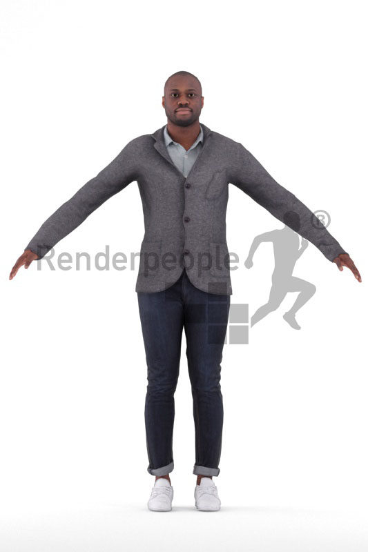 3d people business/casual, black 3d man rigged