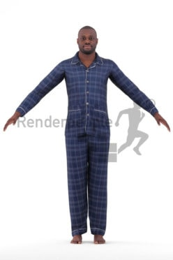 Rigged human 3D model by Renderpeople – black male in pyjamas