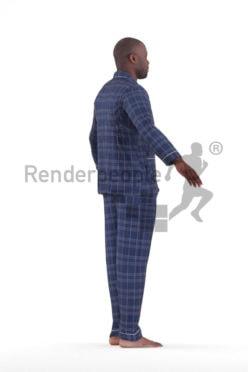 Rigged human 3D model by Renderpeople – black male in pyjamas