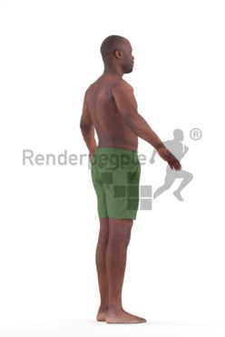 Rigged human 3D model by Renderpeople – black man in swimmshorts
