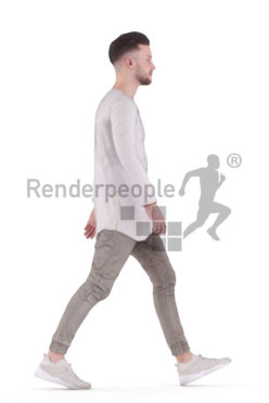Animated 3D People model for Unreal Engine and Unity – white man in casual look, walking