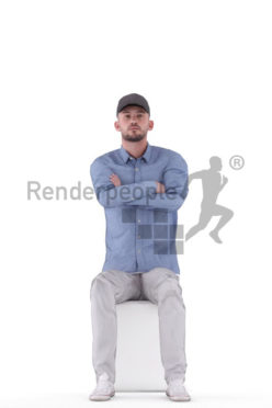 Animated 3D People model for Unreal Engine and Unity – european man with cap and blue shirt, sitting