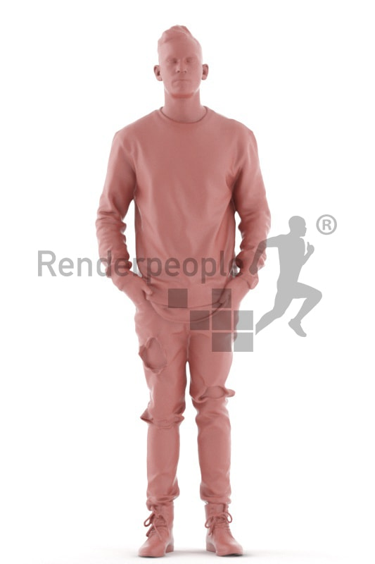 3d people casual, white 3d man casual, standing and waiting