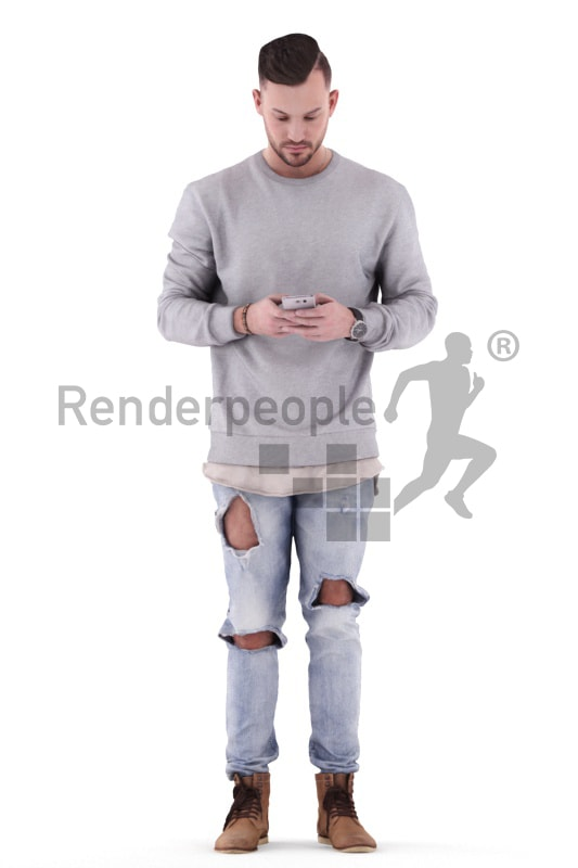3d people casual, white 3d man standing and texting