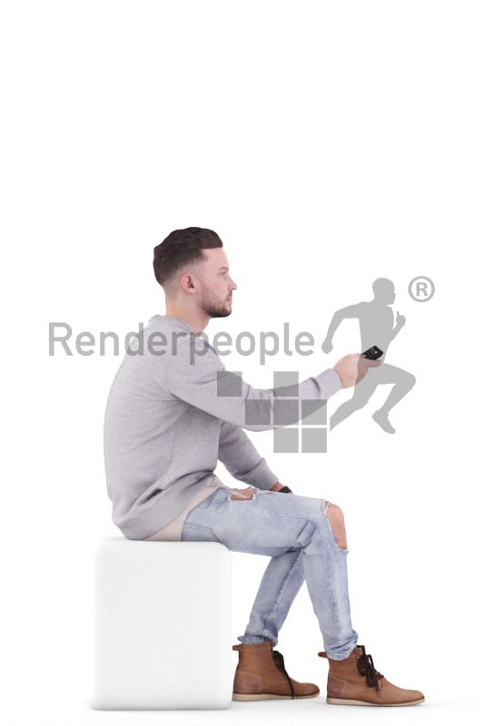 3d people casual, white 3d man sitting with the remote