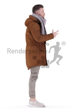 3d people outdoor, white 3d man standing and talking