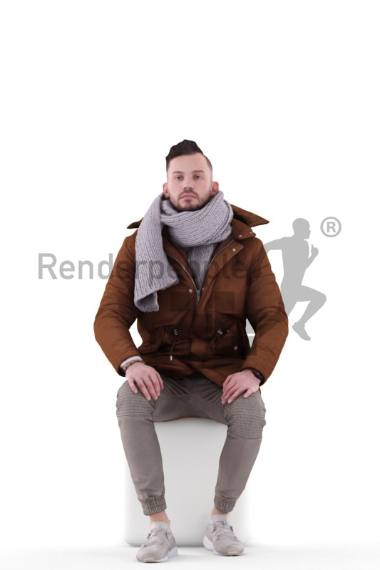 3d people outdoor, white 3d man sitting and waiting