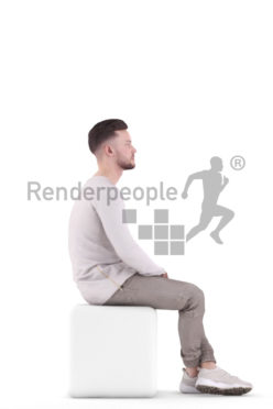3d people casual, white 3d man sitting and waiting