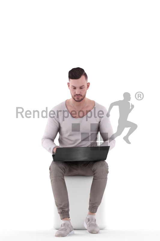 3d people casual, white 3d man sitting and writing on his laptop