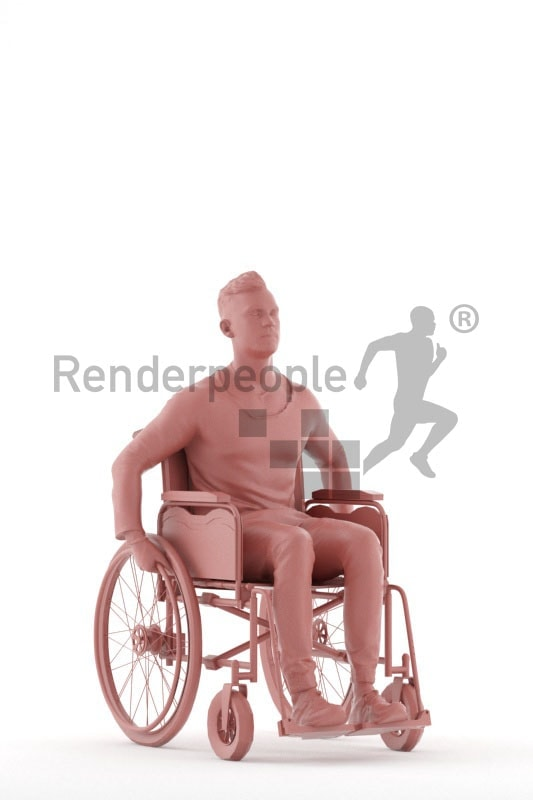 3d people casual, white 3d man sitting, in a wheelchair
