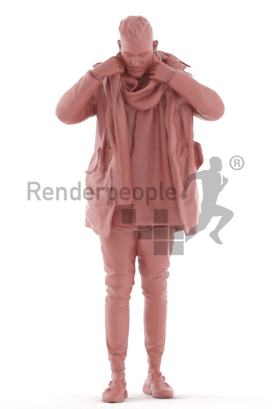 3d people outdoor, white 3d man standing, putting on his cloth
