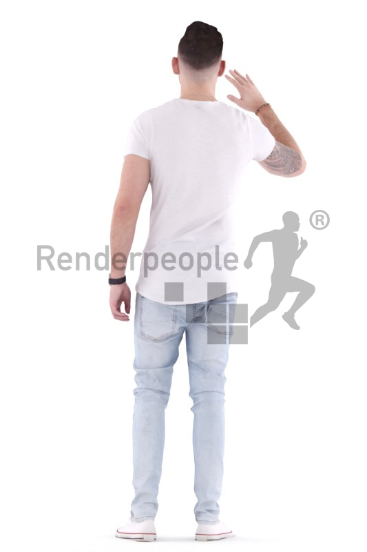 3d people casual, white 3d man standing and walking