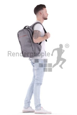 3d people casual, white 3d man standing, waiting with a bagpack