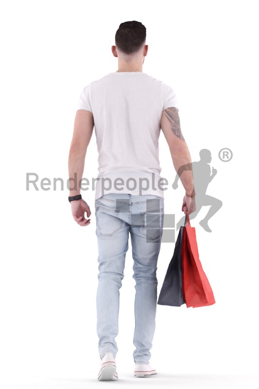 3d people casual, white 3d man walking with shopping bags