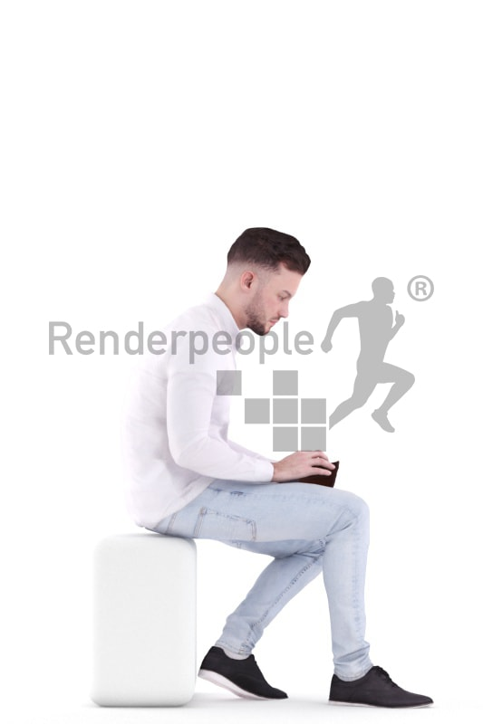 3d people casual, white 3d man sitting and paying