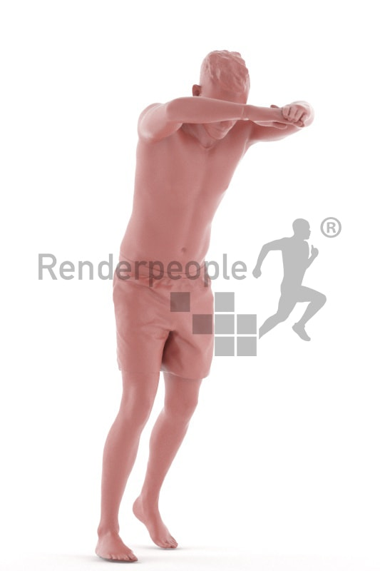 3d people swimming, white 3d man jumping into a pool
