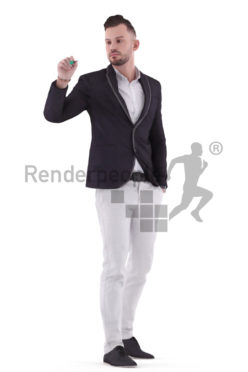 3d people business, white 3d man writing on a whiteboard