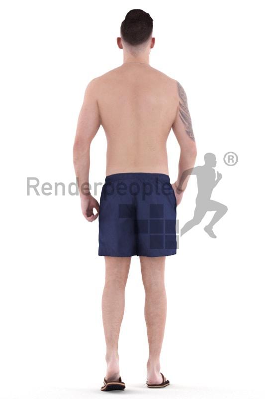 3d people swimming, white 3d man walking