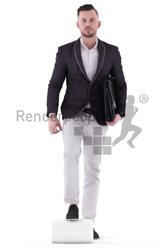 3d people business, white 3d man walking upstairs