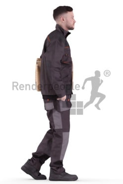 3d people worker, white 3d man walking carrying a package