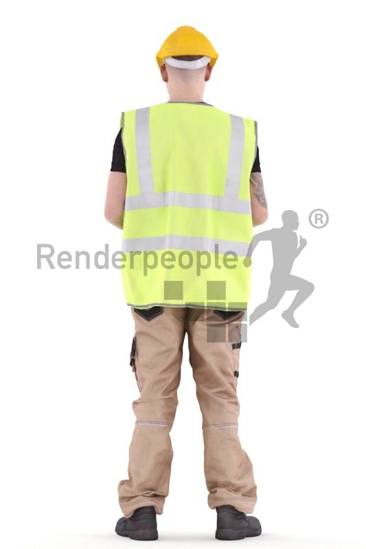 3d people worker, white 3d man standing writing on his clipboard