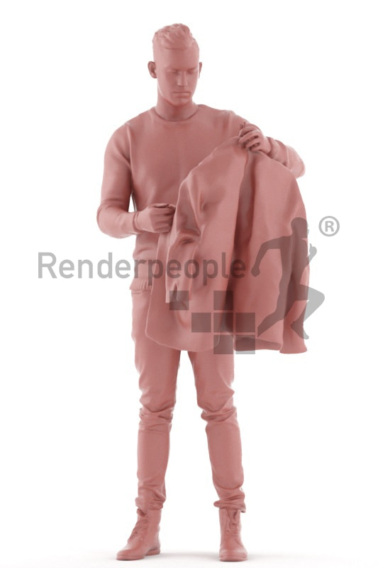 3d people casual, white 3d man standing and shopping