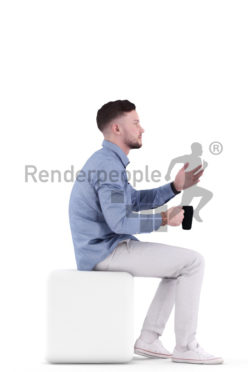 3d people casual, white 3d man sitting, drinking and discussing