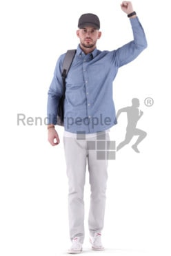 3d people casual, white 3d man standing in public transportation