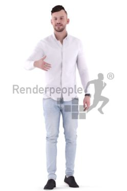 3d people casual, white 3d man standing and shaking hands