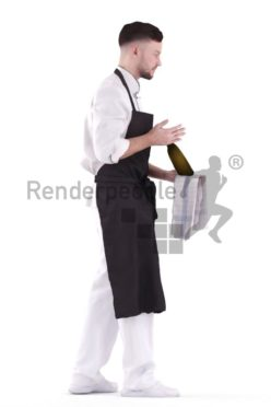 3d people waiter, white 3d man serving and holding wine bottle