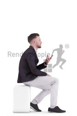 3d people business, white 3d man talking