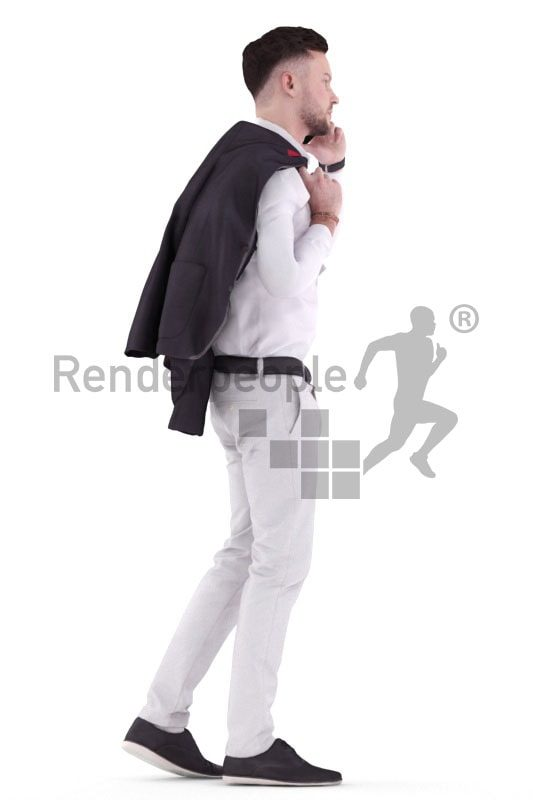 3d people business, white 3d man walking and calling